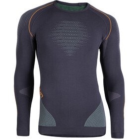 UYN Evolutyon UW Longsleeve Shirt Heren, charcoal/green/orange shiny